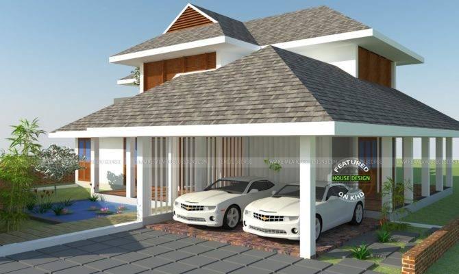 Sloping Roof Residence Kerala Home Design Floor