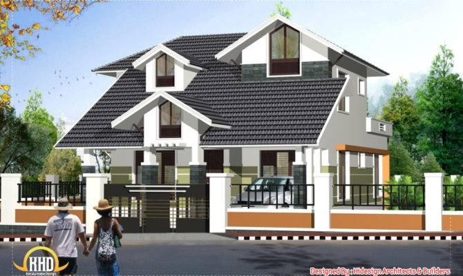 Sloping Roof Story House Kerala Design Idea