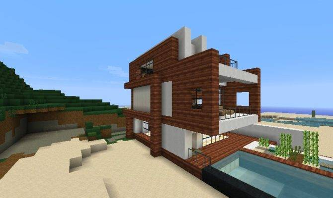 Small Modern Beach House Schematic Minecraft Project Home Plans Blueprints 25728