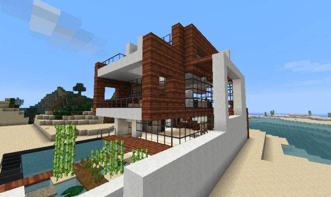 Small Modern Beach House Schematic Minecraft Project Home Plans Blueprints 7475