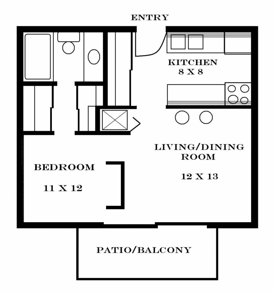 Small One Bedroom Apartment Floor Plans Apartments Home Plans Blueprints 108647