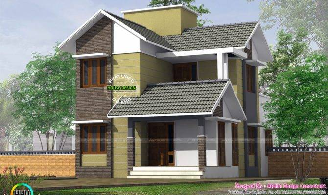 Small Slope Roof Double Storied House Kerala Home Design