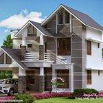 Sober Coloured Sloping Roof House Kerala Home Design Floor Plans