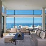 Sofa Fireplace Large Windows Beach House Laguna