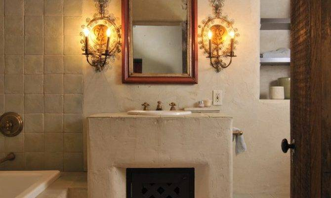 Southwest Stucco Fireplace Ideas Bedroom Southwestern