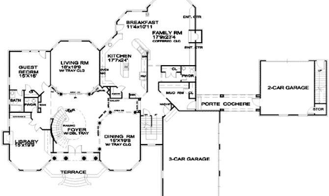 Spacious European House Plan Porte Cochere