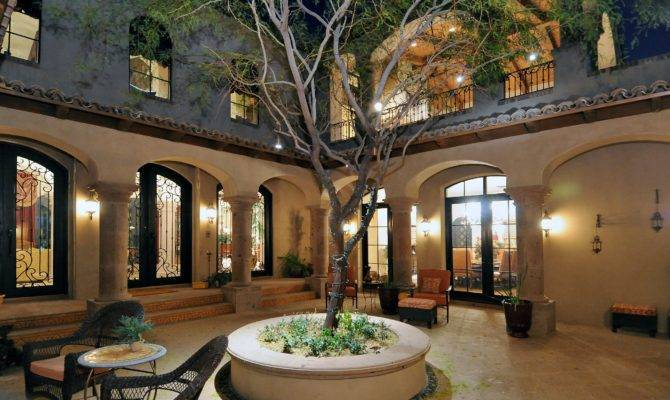 Spanish Style House Plans Interior Courtyard