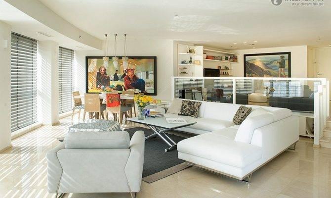 Split Level Living Room Television Wall Renderings