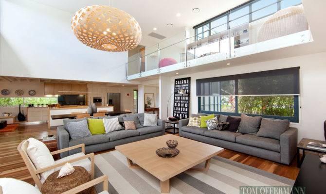 Split Level Living Room Using Grey Colours Tiles Built