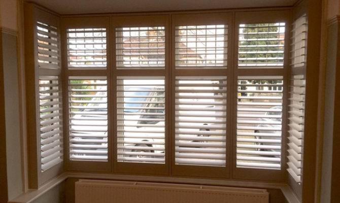 Square Bay Window Plantation Shutters Living Room