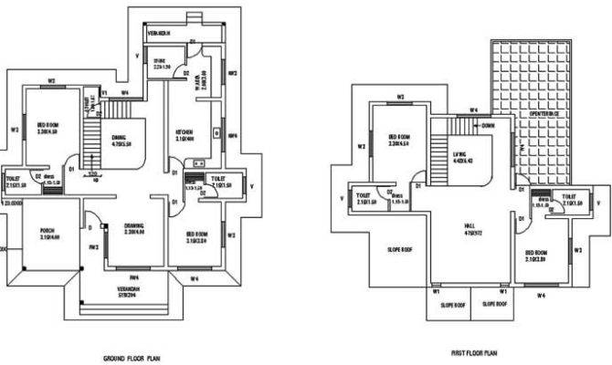 Square Feet Bedroom Sloping Roof Double Floor Home