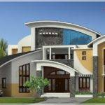 Square Feet Large Modern Contemporary Style Home Elevation
