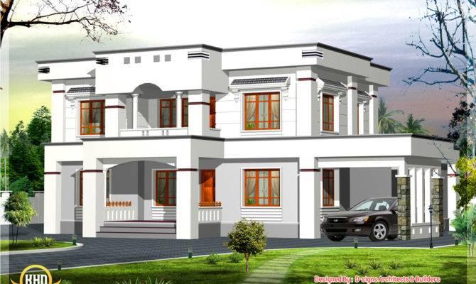 Square Feet Stylish Flat Roof Bedroom House Design