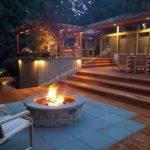 Square Foot Level Deck Outdoor Kitchen Firepit