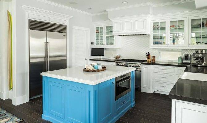 Square Turquoise Kitchen Island Cottage