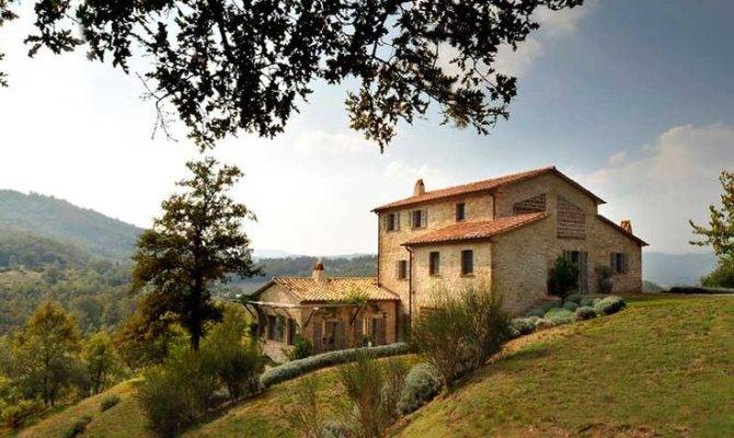 Stone Home Tile Roof Italian Hillside Spinaltermine House