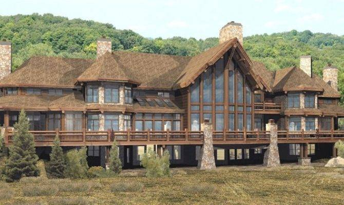 Stone House Plans Luxury Log Home Natural Chimney