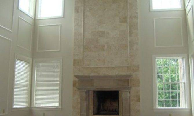 Stone Two Story Fireplace Home Design Ideas
