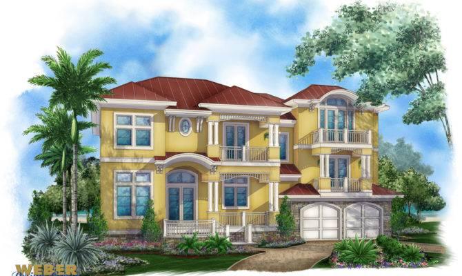 Story Caribbean House Plan Beach Home Design