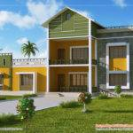 Story Sloping Roof House Indian Plans