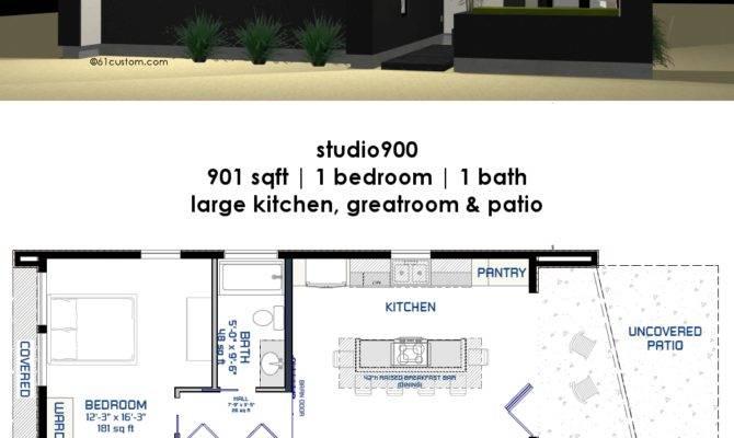 Studio Small Modern House Plan Courtyard Custom