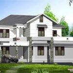 Style Sloping Roof Villa Design Kerala Home Floor Plans