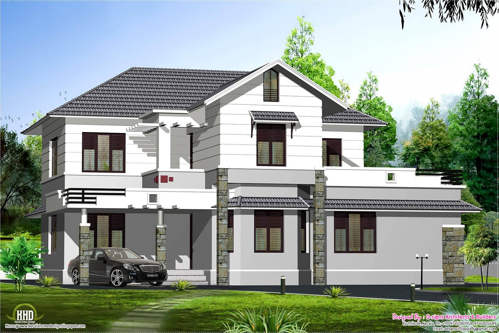Style Sloping Roof Villa Design Kerala Home Floor Plans Home Plans Blueprints 90200