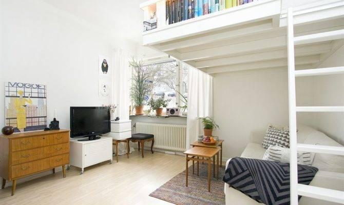 Swedish Studio Apartment Elegantly Combines Loft Bed Book Shelves
