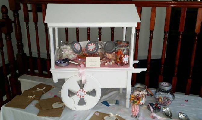 Table Top Candy Cart White Approximately