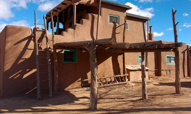 Taos Pueblo Adobe House Ladder