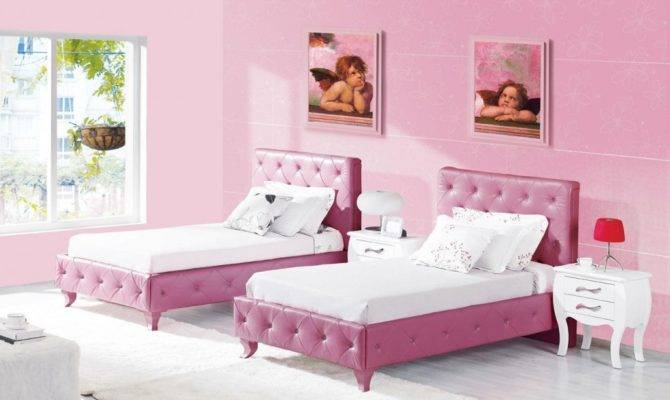 Teenage Girls Bedroom Design Two Bed Pink Wall Theme Home Plans Blueprints 92844