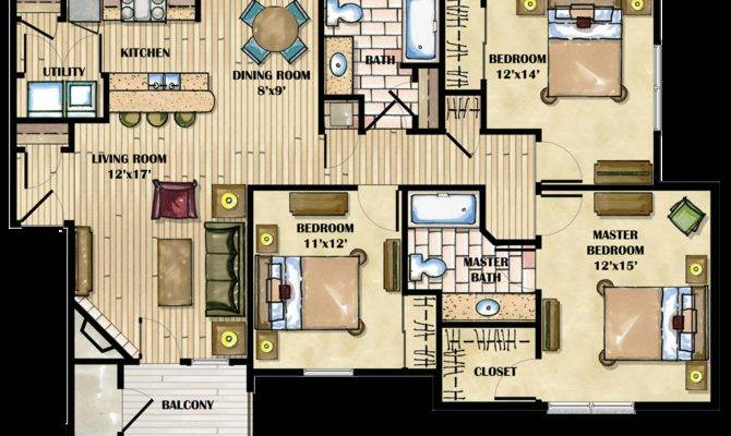 Three Bedroom Apartment Layout Homes Floor Plans