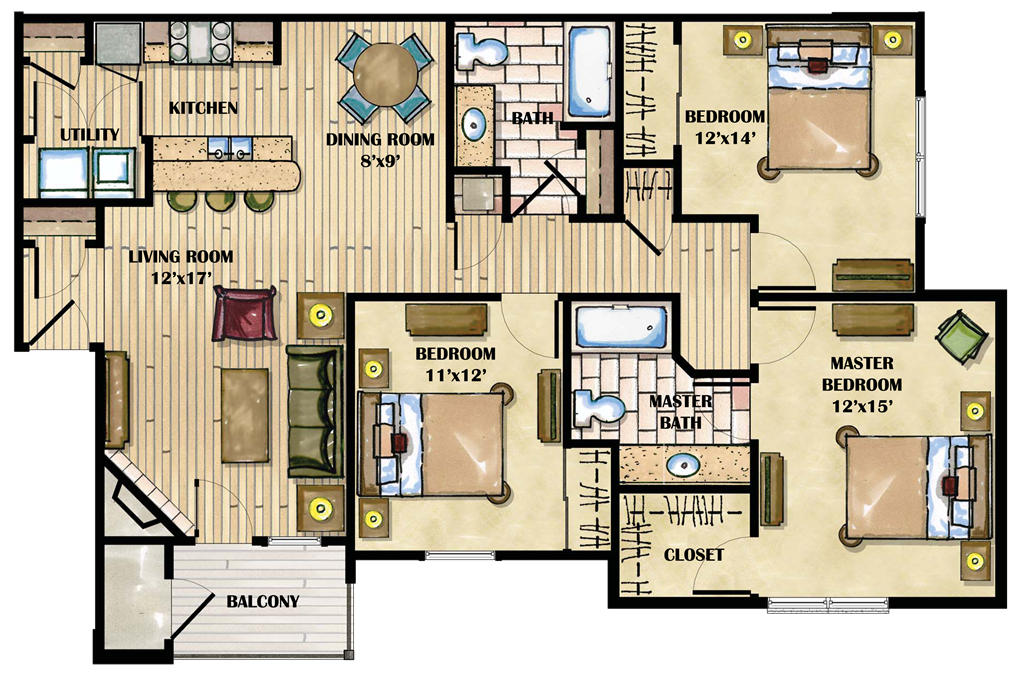Three Bedroom Apartment Layout Homes Floor Plans Home Plans Blueprints 164677,Studio Apartment Plants
