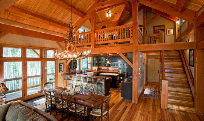Timber Frame Mountains Rustic Dining Room