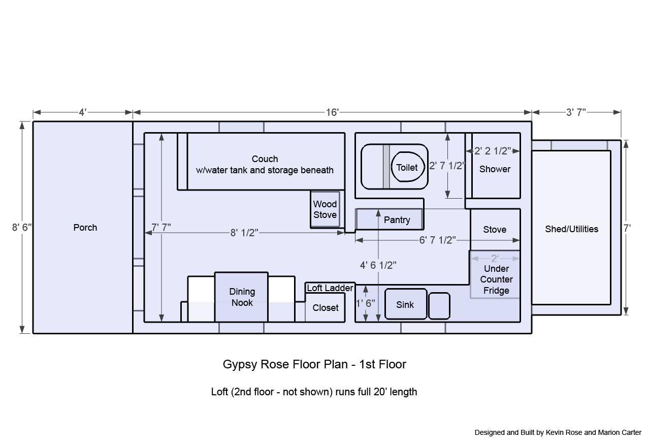 Tiny House Plans Wheels Gypsy Rose Floor Plan Home Plans Blueprints 18953