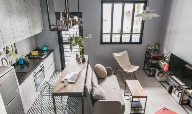 Tiny Studio Apartment Loft Bed Single Woman