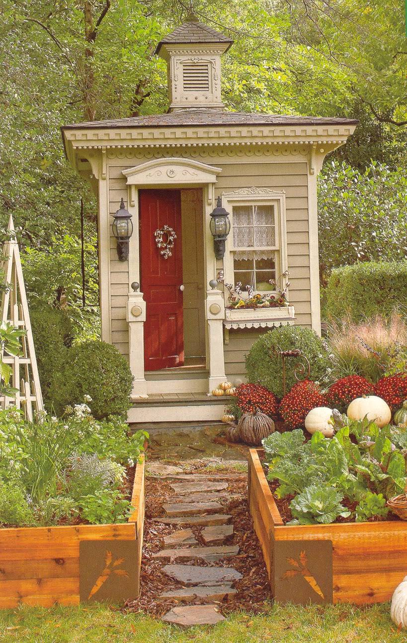 Tiny Victorian Outhouse Small Garden Shed Cabin - Home Plans & Blueprints |  #123888
