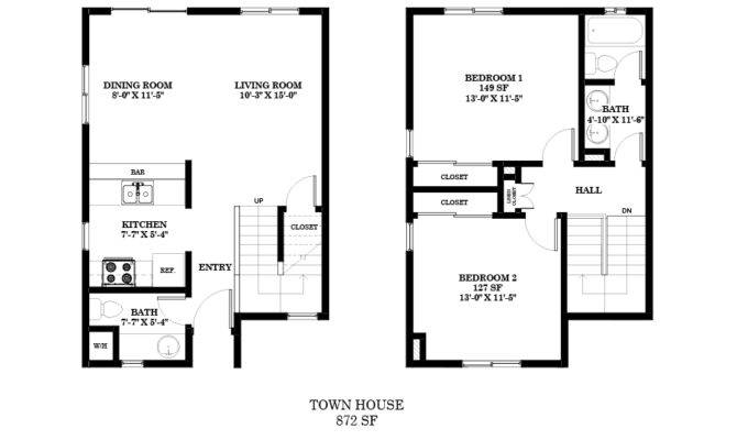 Townhouse Floor Plans Bedroom Bath Apartment Plan Story