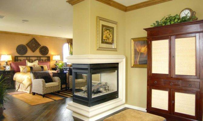 Traditional Bedroom Three Way Fireplace