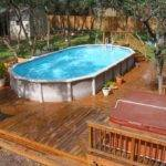 Traditional Design Wooden Deck Above Ground Swimming Pools Small