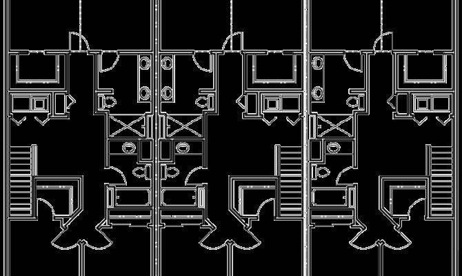 Triplex House Plans Craftsman Exterior Row