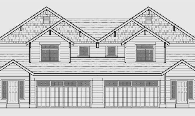 Triplex House Plans Townhouse Car Garage