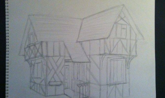 Tudor House Sketch Drawing