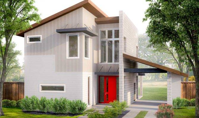 Two Bedroom Modern House Plan Porte Cochere