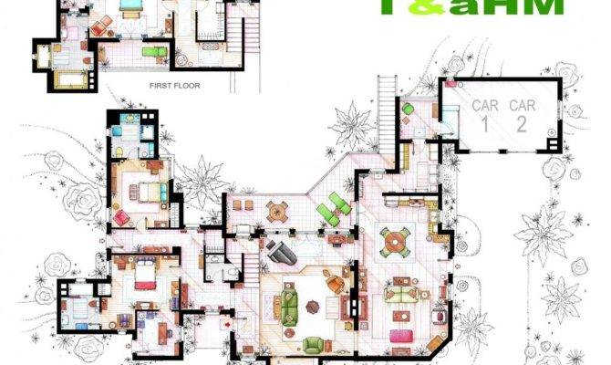 Two Half Men Floor Plans Interior Design Ideas