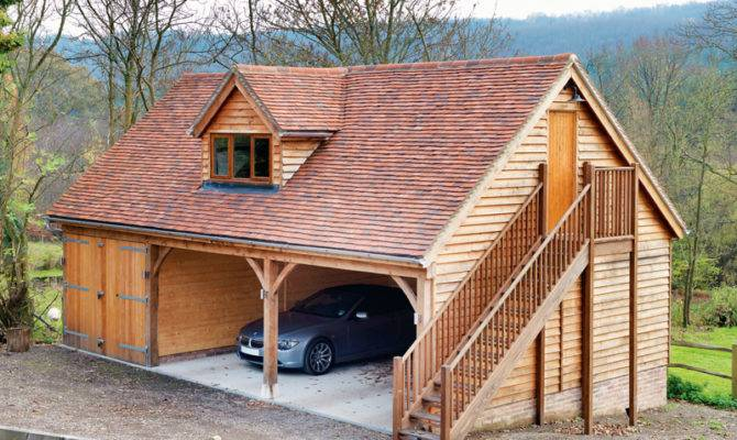 Two Storey Timber Garage One Enclosed Bay Attic Above