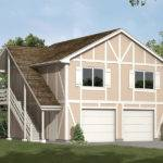 Two Story Garage Aprtment Has Side Outdoor Stairs Classic Tudor