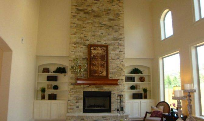 Two Story Great Room Raised Hearth Gas Fireplace Stone