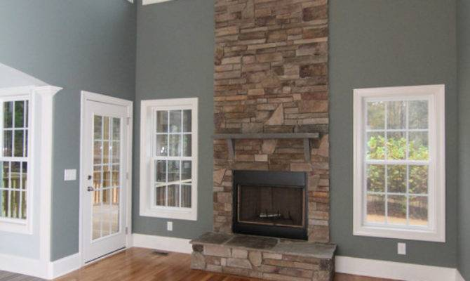 Two Story Stone Fireplace Home Design Ideas