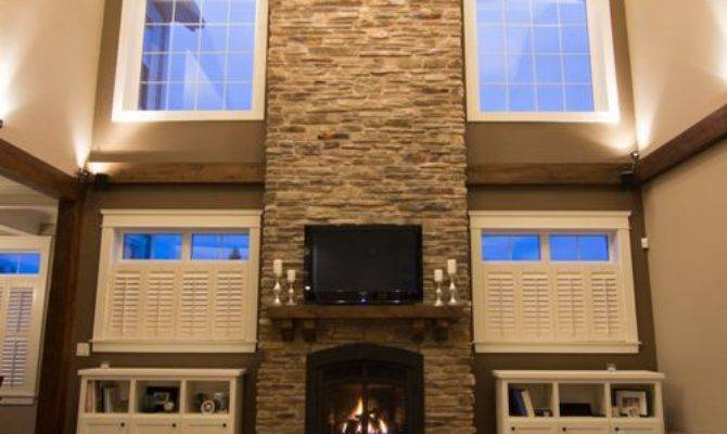 Two Story Stone Fireplace Ideas Remodel Decor